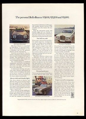 1969 Rolls Royce Silver Shadow convertible coupe sedan 3 car photo print ad
