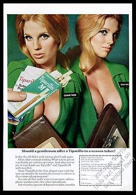 1968 Tiparillo cigar busty women census takers photo vintage ad