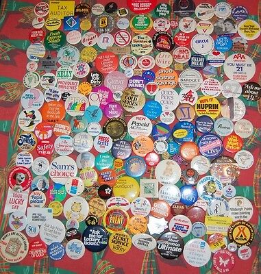184 Pins/Pinback Buttons: Advertising vintage 1970s, 1980s, 1990s, 2000s