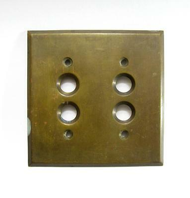 Antique Brass Double Push Button Light Switch Cover Plate Vintage Hardware Old