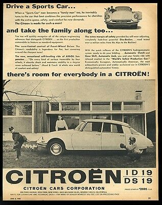 1958 Citroen ID19 DS19 car baseball kids modern house photo vintage print ad