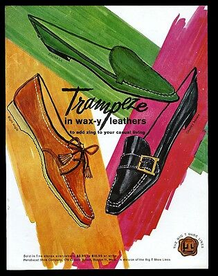 1962 Trampeze leather women's shoes 3 flats styles illustrated vintage print ad
