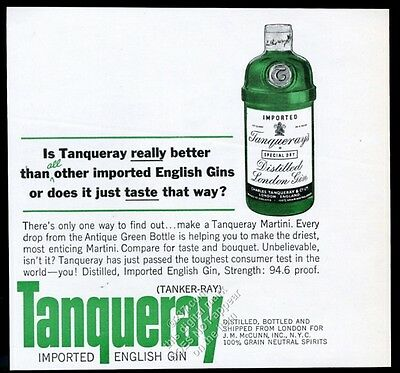 1963 Tanqueray Special Dry Gin green bottle pic vintage print ad