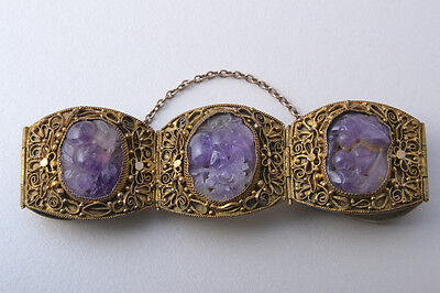 Antique Chinese Amethyst Gilt Silver Bracelet Filigree Panels /Amethyst Bracelet