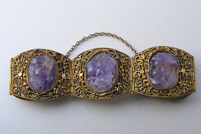 Antique Chinese Amethyst & Gilt Silver Bracelet Filigree Panels