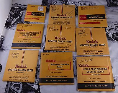 "25 3"" square Kodak Wratten Filters & 7 Kodak Polycontrast Acetate Filters 150mm"