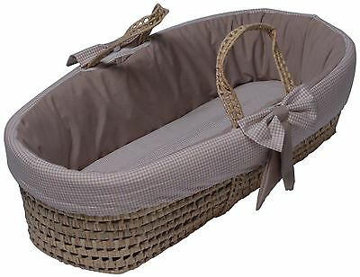 Baby Doll Bedding Gingham Moses Basket, Color Khaki Brand New