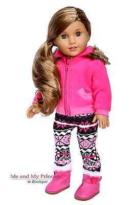 JACKET + FAIR ISLE LEGGINGS + PINK BOOTS clothes for 18 inch American Girl Doll