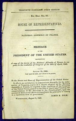 1848 FRENCH REVOLUTION National Constituent Assembly Decree Thanking Congress