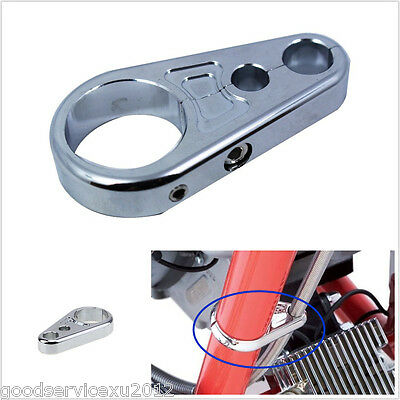 """One Metal Chrome Motorbikes 1"""" 25mm Brake Clutch Cable Wire Clamp Clip For Honda"""