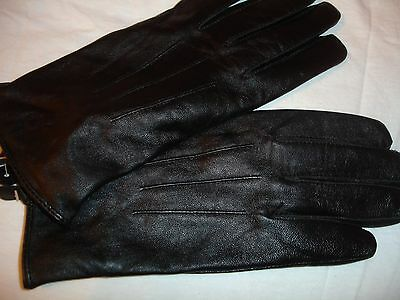 Ladies black leather gloves brand new size M/L Free Shipping!!!!!  100% Leather!