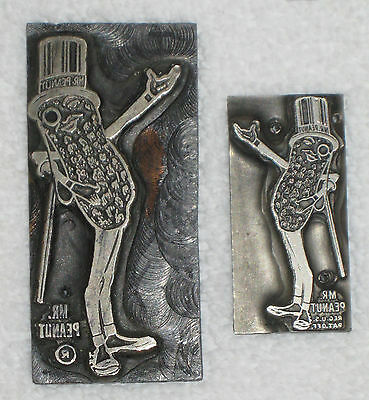 Planters Mr. Peanut Pair of Old Printing Plates Antique