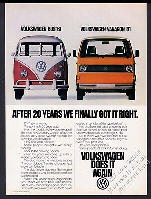 1981 VW Volkswagen Vanagon and 1961 bus microbus photo vintage print ad