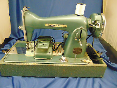 Vintage Bradford portable electric sewing machine foot pedal instructions create