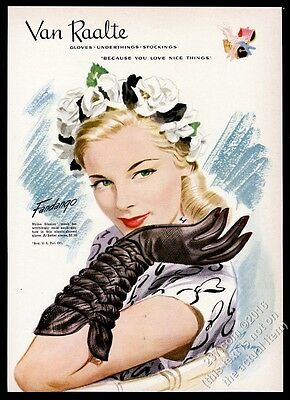 1946 Van Raalte fandango women's black gloves smiling woman art vintage print ad
