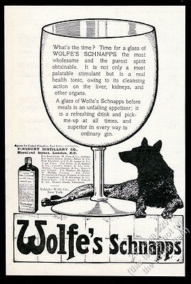 1910 Wolfe's Schnapps glass and wolf art UK vintage print ad