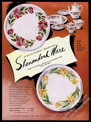 1954 Shenandoah Ware Poppy Jonquil plate pitcher cup art vintage print ad