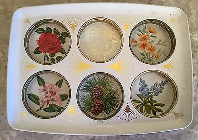 "Vintage Texas Souvenir Metal Serving Drink Tray Holds 6 floral / flowers 11"" dia"