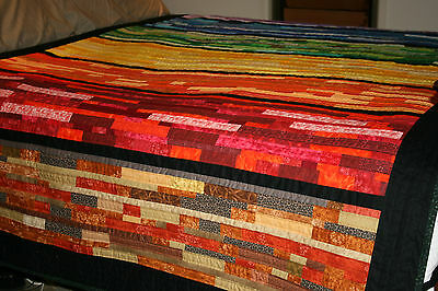 """NEW - Hand Made Quilt """"RAINBOW STRIPPY"""" Design by Quilt-Addicts 96"""" x 61.5"""""""