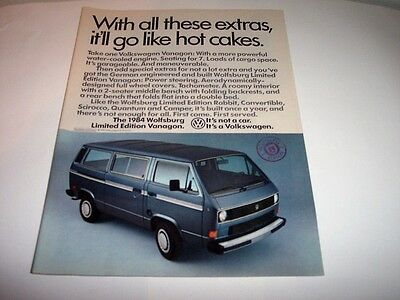 1984 Wolfsburg Limited Edition Vanagon Photo Print Original Magazine Ad
