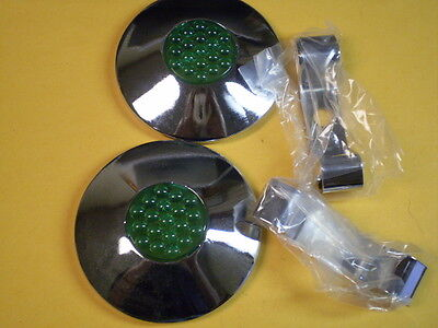 SALE! 2 Only Vintage Collectable Bicycle Green Reflector Hub Caps