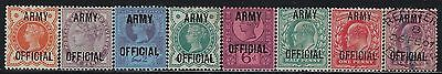 """GREAT BRITAIN OFFICIALS 1896 #O54-#061, S/G #O41-#O50, """"Army"""" M/H & Used  UNIQUE"""