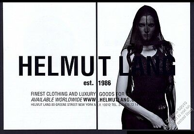 2001 Helmut Lang fashion woman with see-thru hood photo vintage print ad