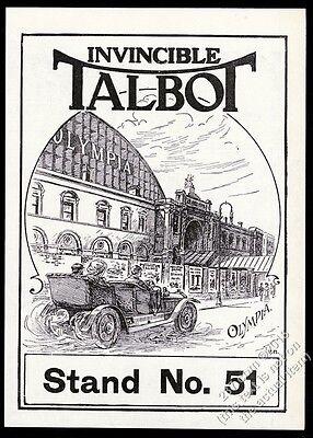 1910 Talbot car open touring model at Olympia auto show vintage print ad