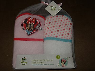 Disney Baby Minnie Mouse Bath Set Hooded Towels 2 Pack-New