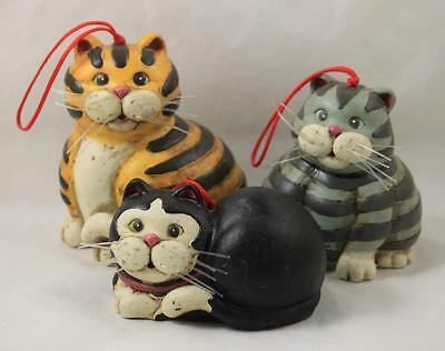 Cat Christmas Ornaments Set of 3 Kurt Adler Wooden Home Decor