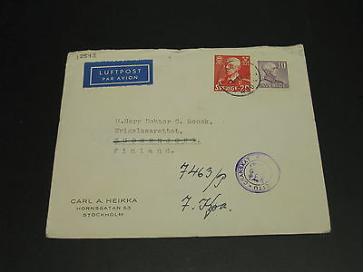 Sweden 1943 censored airmail cover to finland *12543