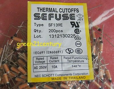 20PCS SF139E SEFUSE Cutoffs NEC Thermal Fuse 142°C Celsius Degree 10A 250VAC