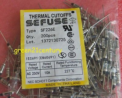 100PCS SF240E SEFUSE Cutoffs NEC Thermal Fuse 240°C Celsius Degree 10A 250VAC