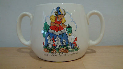 Vintage Childs 2 handled cup mug Nursery Rhyme Mary Mary Quite Contrary
