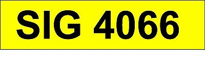 SIG 4066   Personalised / Cherished Registration  Private Number Plate.