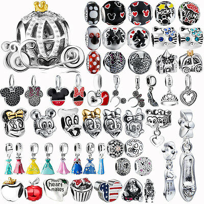 925 Mickey&Minnie Charm Bead for Fairy Subject Sterling Silver Bracelet Necklace