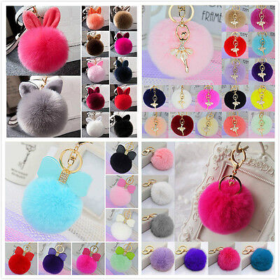 Car Keychain Key Ring Rabbit Fur Hand Bag Ball PomPom Pendant Charm Cell Phone