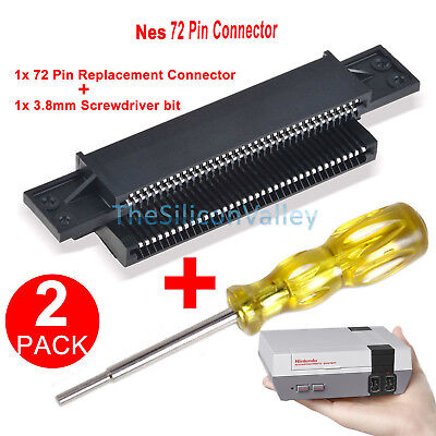 72 Pin Replacement Connector+3.8mm Screwdriver Bit for Nintendo Nes 8 Bit System