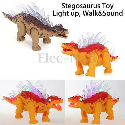 Stegosaurus Dinosaur Toy Model Light Up Walking With Sound Real Movement For Kid