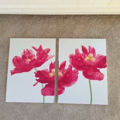 White & Pink Set Of 2 Flower Pictures made by Vie, each picture is 30cm x 40cm