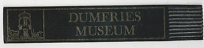 Dunfries Museum. Black Leather English Bookmark.