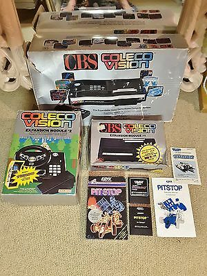 CBS Coleco Vision home computer in box, expansion modules 1, 2 Sega video games