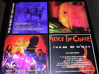 "1 Alice In Chains Album Sleeve + 3 Promotional 12""x12"" Cards"