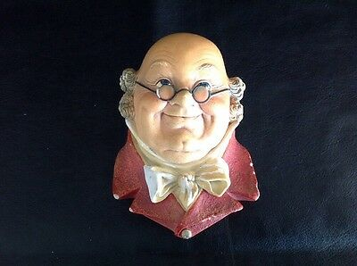 Bossons of Congleton Chalk Plaster Head - Mr Pickwick - 1964 - Vintage Wall Hang