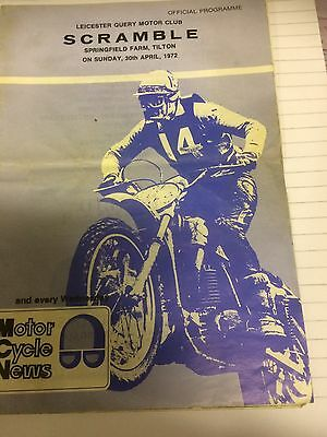 Leicester Query Motorcycle Club Scramble Programme 30th April 1972