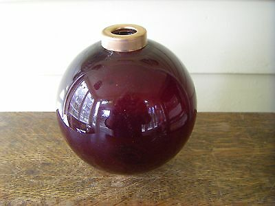 Rich Red Glass Lightining Rod Ball Globe with Brass Ends