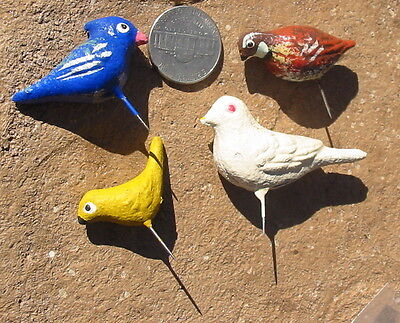 4 Tiny Vtg Paper Mache' Bird Pins Craft Decorations Painted Finch Dove Quail Old