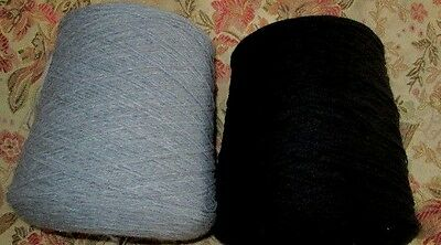 2 cones WOOL/ACRYLIC 4ply machine knitting yarn - Black(Lot 570) and Grey mix