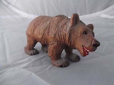 (908) Black Forest Carved Walking Bear with Glass Eyes