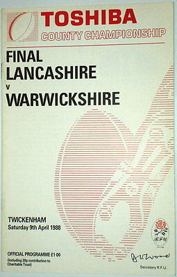 Lancashire Warwickshire County Rugby Union Final Programme 1988